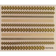 3D стикер за нокти злато 676