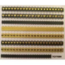 3D стикер за нокти злато 686