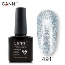 Canni Platinum брокатен гел лак-491