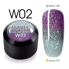 Гел боичка Thermo Glitter Gel - W02