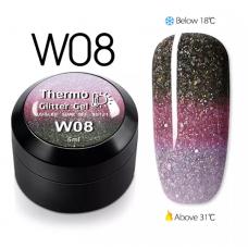 Гел боичка Thermo Glitter Gel - W08